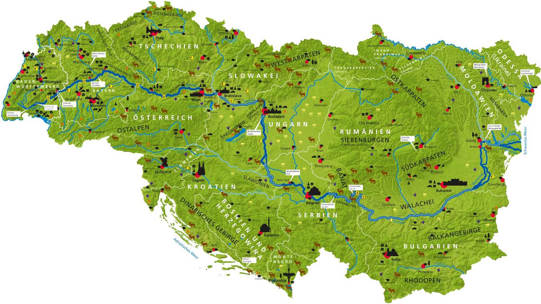 Karte der Donauraumstrategie-Länder Deutschland (Baden-Württemberg und Bayern), Österreich, Tschechien, Slowakei, Slowenien, Kroatien, Ungarn, Serbien, Bosnien Herzegowina, Rumänien, Bulgarien, Montenegro, Moldavien und Ukraine